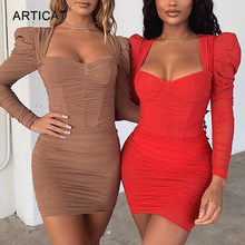 Articat Sexy Bodycon Ruches Mesh Jurken Vrouwen Puff Lange Mouwen Vierkante Hals Rode Mini Jurk Dames Party Club Elegante Vestidos(China)