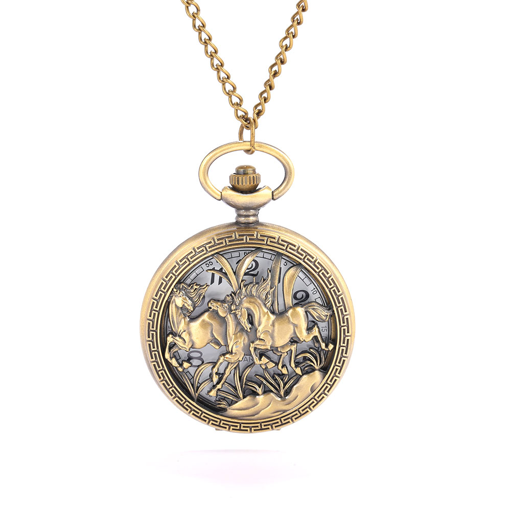 8838 Two Horses Horse Racing Pattern Carved Hollow Personality Exquisite Gift White Face Roman Lettering Large Flip Pocket Watch