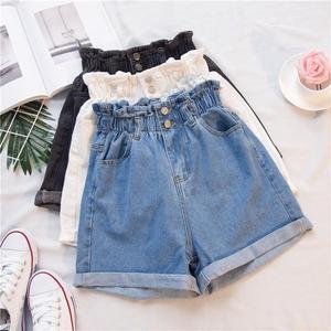 2020 Summer High Waist Denim Shorts Women Casual Loose Ladies Fashion Roll Up Hem Elastic Waist Pocket Blue White Jeans Female