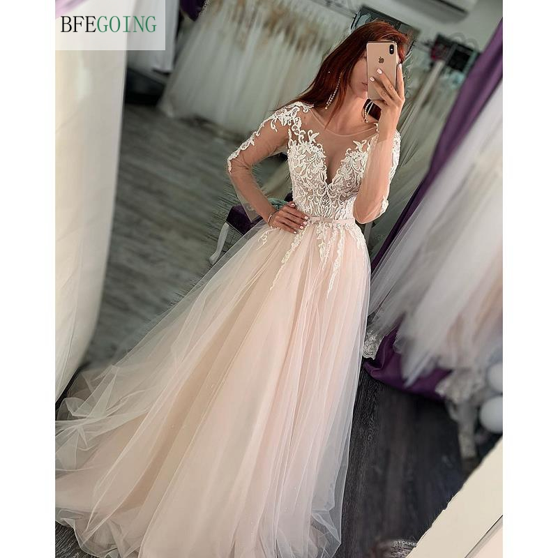 Ivory Lace Tulle Long Sleeves Scoop Floor-Length A-line Wedding Gown Bridal Dress Chapel Train Custom Made
