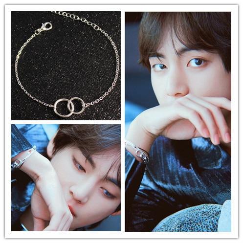kpop Kim Tae Hyung Bracelet Simple Double Circles Bracelet for Women Men Korean Jewelry bangtan boys Gift for boys Couple