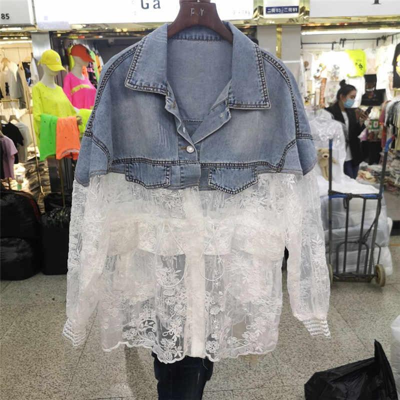 Zomer Vrouwen Patchwork Kant Denim Jas Vrouwen Jassen Streetwear Vrouwelijke Losse Koord Jean Jas Chamarras Mujer