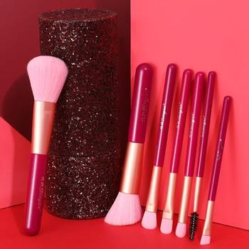 XINYAN Candy Makeup Brush Set Pink Blush Eyeshadow Concealer Lip Cosmetics Make up For Beginner Powder Foundation Beauty Tools 5