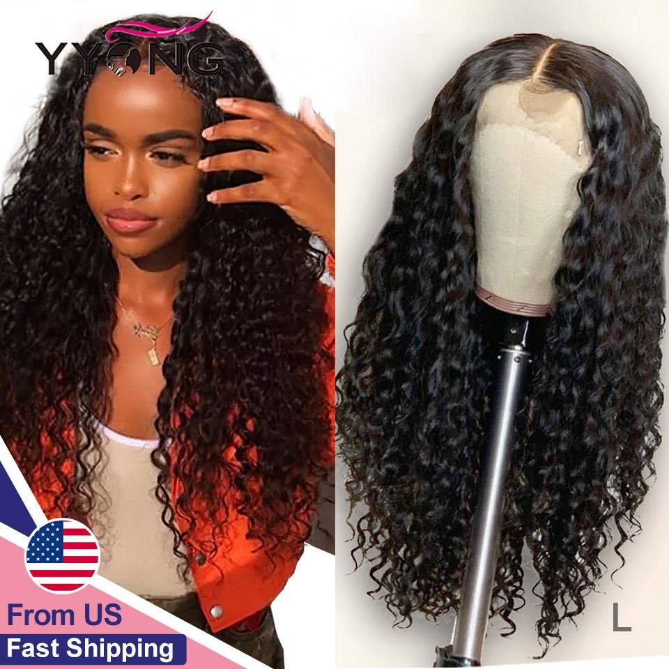 YYong-Peluca de cabello humano con división y encaje frontal 13x4, malla con división HD 1x6, pelo de bebé, Remy Indian Deep Wave 30, 32 pulgadas, encaje frontal