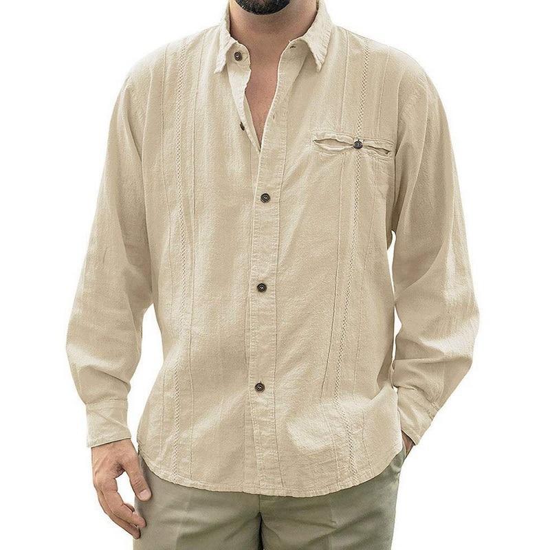 2019 Mens Loose Fit Cuban Camp Guayabera Linen Long Sleeve Soild Shirts Casual Button  Down Beach Breathable Shirts