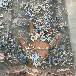 Tecido de renda francês borgonha tecidos de renda nigeriano tissu dentelle voile suisse tule material do laço para mulheres africanas 5 quintal