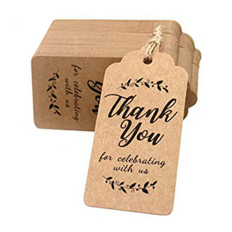SEAAN 100pcs White/Brown Kraft Gift Tags Thank You Paper Tags For Baby Shower Party Favors Personalized Wedding Gifts for Guests