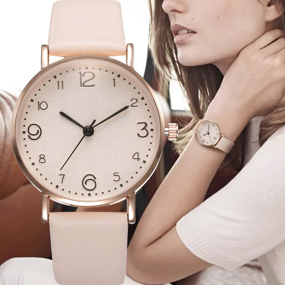 Top Fashion Style Luxury Women Leather Band Analog Quartz Wrist Watch Golden Ladies Watch Women Dress Reloj Mujer Black Clock