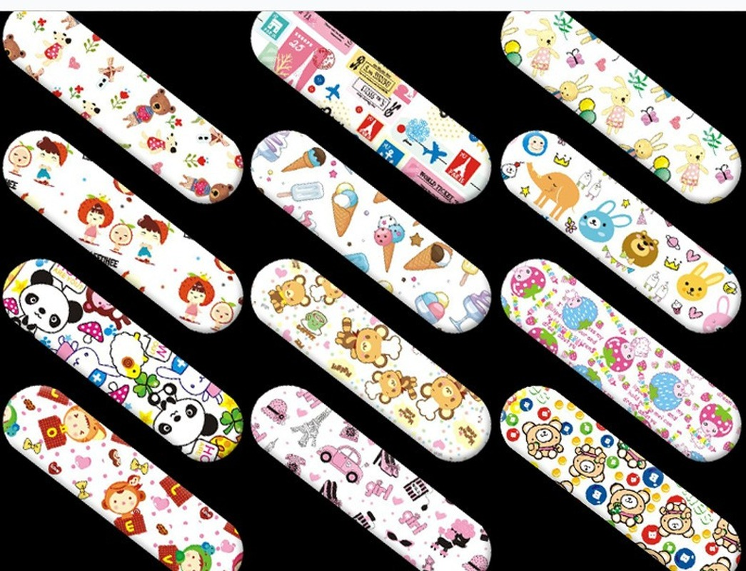 120PCS Cute Cartoon Bandages Band Aid  Adhesive  First Aid Emergency Bandage Kit For Kids Children