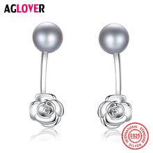 AGLOVER Charm 925 Silver Rose Stud Earring Genuine Natural Freshwater Pearl Earrings Pearl Jewelry Women Party Gift Luxury Brand