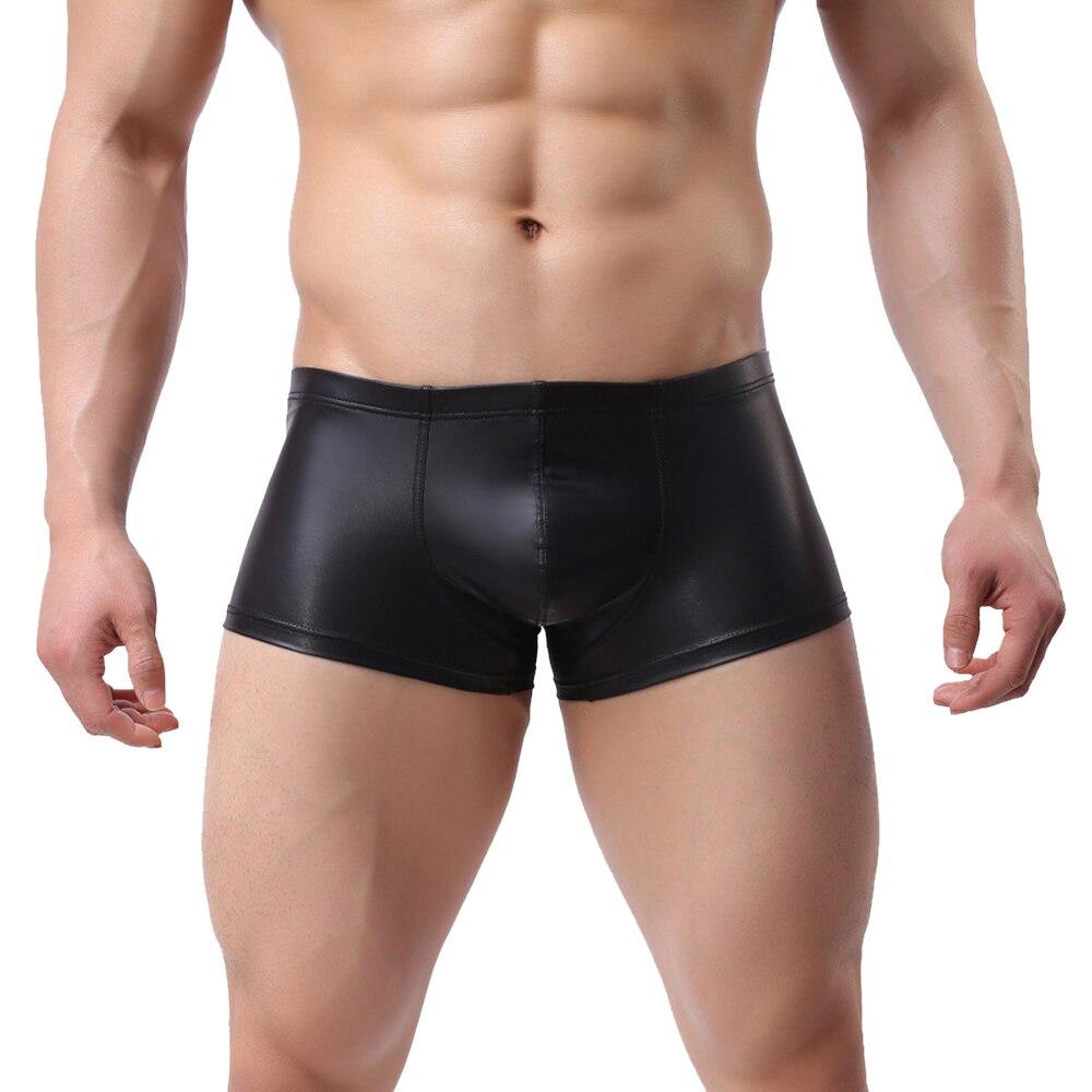 Новые мужские сексуальные трусы-боксеры 2020, мужские трусы из лакированной кожи с кольцом, облегающие боксеры