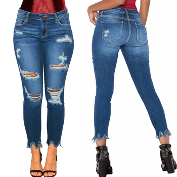 Skinny Jeans Woman Stylish Denim Destroyed Hole Jeans Casual Ladies Ripped Stretch Pencil Pants Denim Trousers Women 2019 D25 destroyed fishnet insert fray trim denim skirt