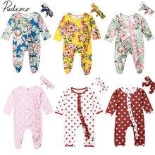 Коллекция года, весенне-осенняя одежда для малышей Одежда в горошек с цветочным рисунком для новорожденных девочек комбинезон с длинными рукавами комплект с повязкой на голову