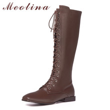 Meotina Motorcycle Boots Women Shoes Genuine Leather Flats Knee-High Boots Square Toe Zip Lace Up Long Boots Lady Autumn Winter knee high boots pu leather rivet lace up sexy lady high boots shoes woman ponited female classic vintage botas riding motorcycle