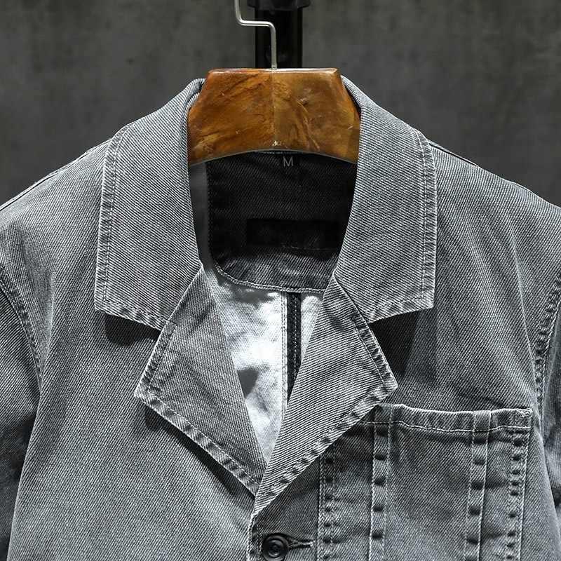 Autunno casual Giacca Da Cowboy Uomini Streetwear Slim Fit Collare del Vestito Monopetto Cappotto Del Denim Grigio Vintage Lavoro Outwear Maschio M-3XL