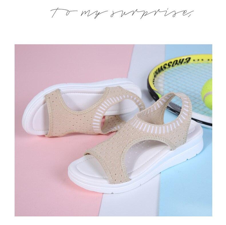 He2c989e357ef45fa9a3d1e26162a8a448 WDZKN 2019 Sandals Women Summer Shoes Peep Toe Casual Flat Sandals Ladies Breathable Air Mesh Women Platform Sandals Sandalias