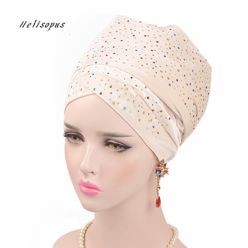 Helisopus 2019 New Muslim Long Tail Scarf Hat Women Starry Velvet Turban Chemo Cap Hair Accessories Women Headwraps