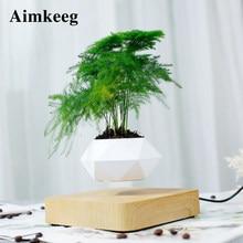 Novedad levitante luz olla rotación aire plantadores bonsái magnético lámpara de levitación flor flotante planta en maceta para decoración regalo