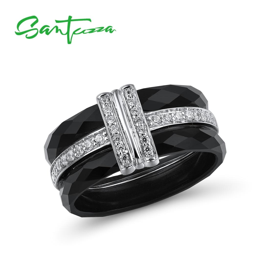 SANTUZZA Silver Rings For Women Pure 925 Sterling Silver Round Black Ceramic Cubic Zirconia Classical Anillos Fine Jewelry