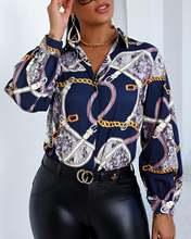Женская Повседневная Осенняя блузка на пуговицах с принтом цепей