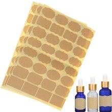 96 pces/3 folhas vazio papel kraft óleo essencial perfume garrafa rolo etiquetas adesivos acessórios (inclue 96 peças etiqueta)