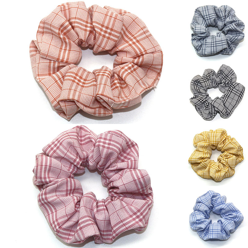 New Arrival Women Plaid Hair Rope Ties Ponytail Holder Hair Ring Elastic Rubber Bands Scrunchie Hair Accessories For Women Girls
