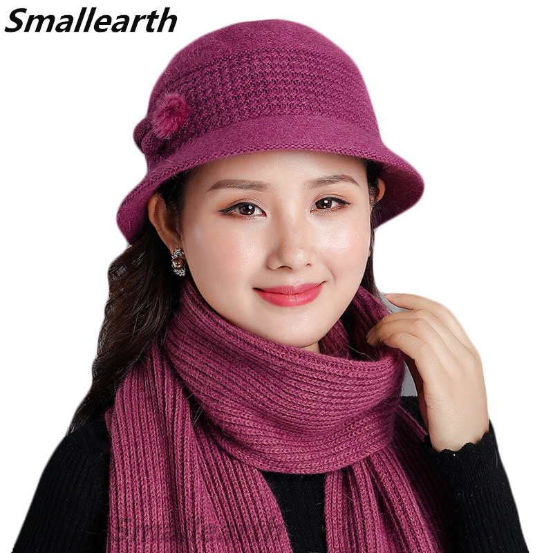 2019 New Winter Women  Rabbit Fur Hat Scarf Sets Knitted Wool Warm Hats Scarf Female Thick Windproof Balaclava Cap Scarves Set