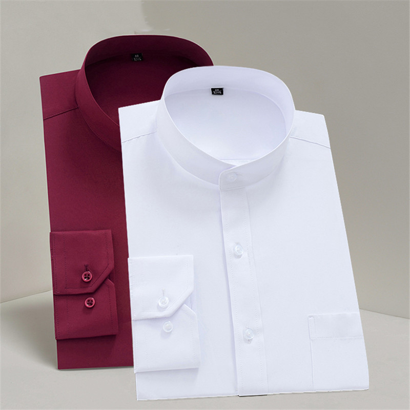 Chinese Stand Collar Solid Plain Regular Fit Long Sleeve Party Bussiness Formal Shirts For Men Mandarin-Collar