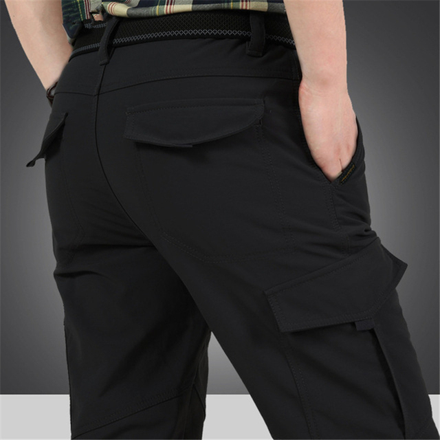 Men's Cargo Stretch Pants Winter Thick Warm Soft Shell Fleece Loose Trousers Shark Skin Army Military Tactical Waterproof Pants 2