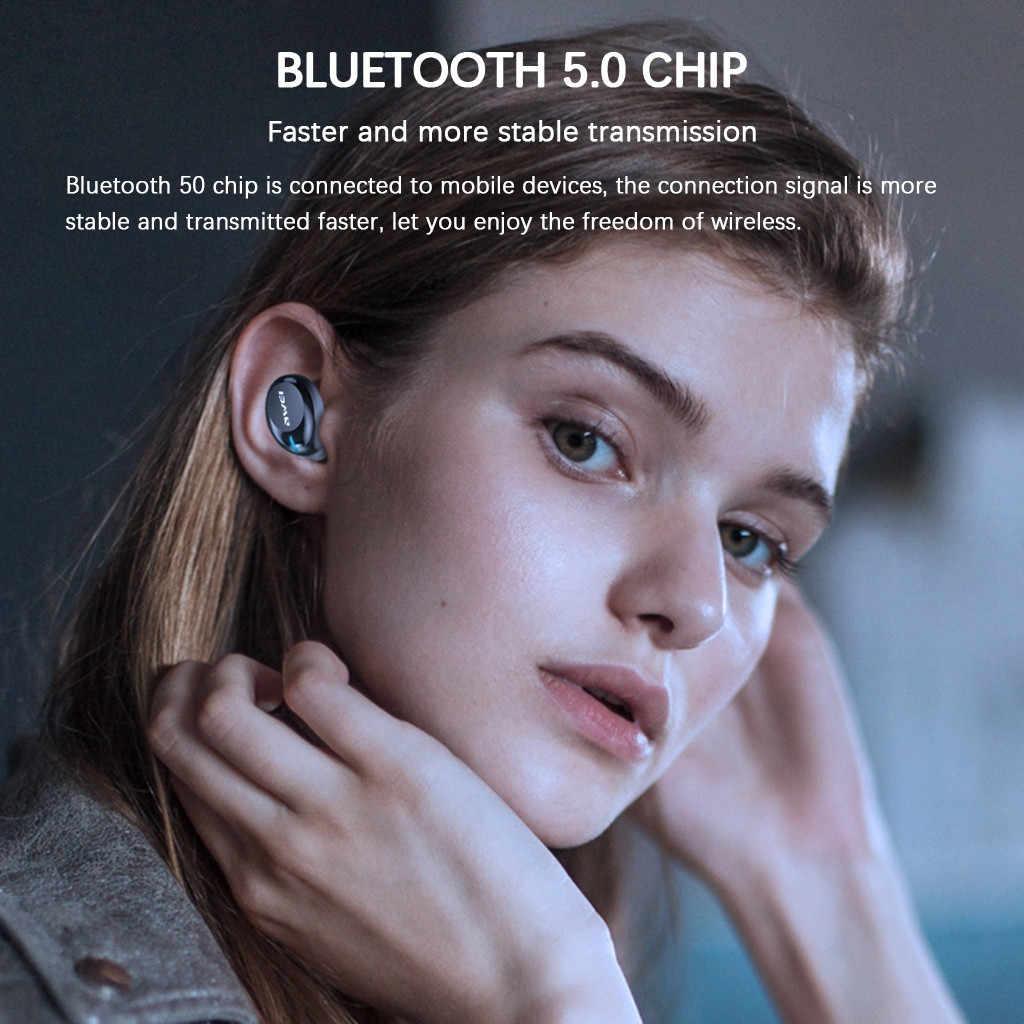 AWEI T20 ミニ Bluetooth 5.0 ヘッドセットワイヤレスイヤホン耳ステレオヘッドフォンイヤフォン Stéréo サンフィル Casque ワイヤレス # G40