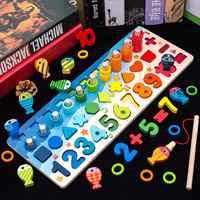 Montessori enfants éducation jouets en bois panneau occupé maths pêche préscolaire en bois Montessori jouet comptage jouets géométriques