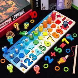 Montessori educação das crianças brinquedos de madeira ocupado placa matemática pesca pré-escolar de madeira montessori brinquedo contagem geométrica brinquedos