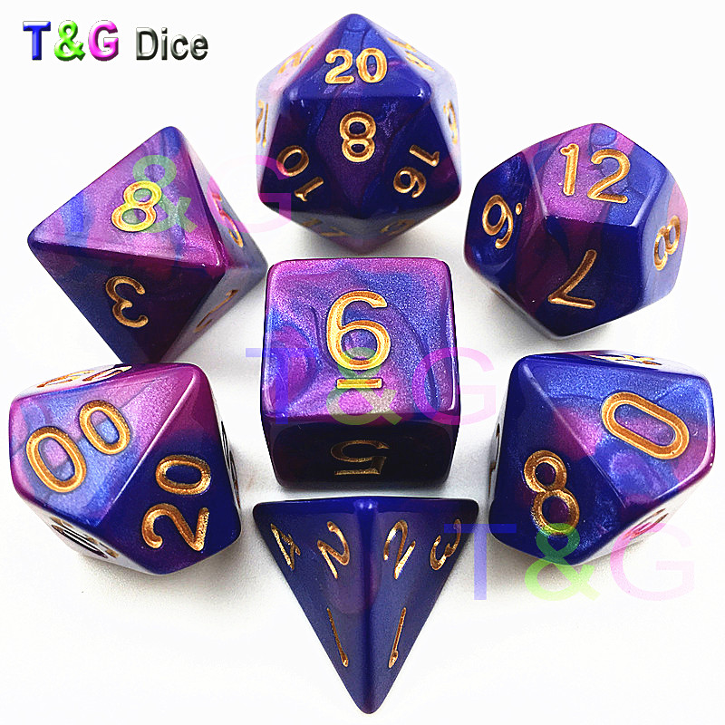 Top Quality Hot 7pcs Mix Color Dice Set With Nebula Effect  Juegos De Mesa Dados Board GameDND RPG Purple