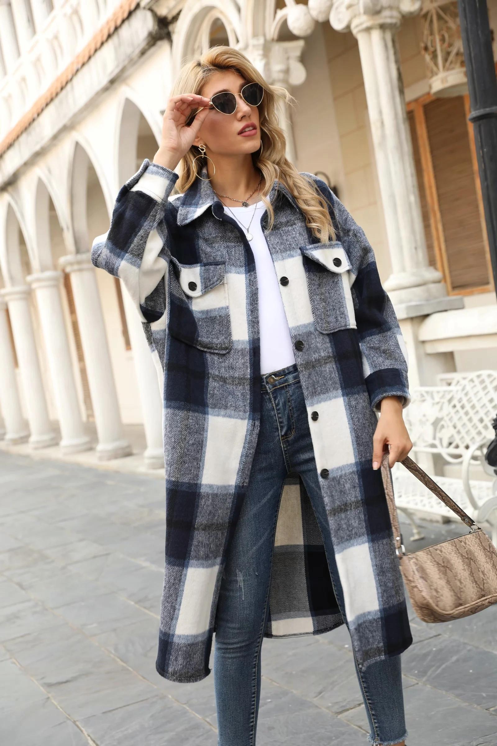 Gypsylady длинная клетчатая куртка пальто винтажное шерстяное
