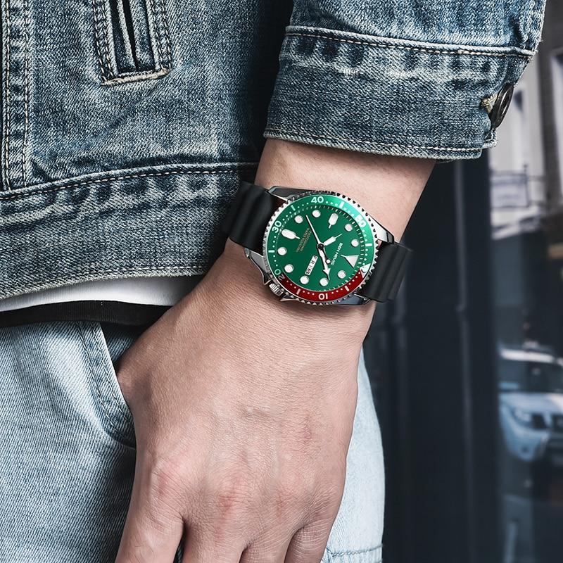 borracha relógio de quartzo luminoso mãos militar