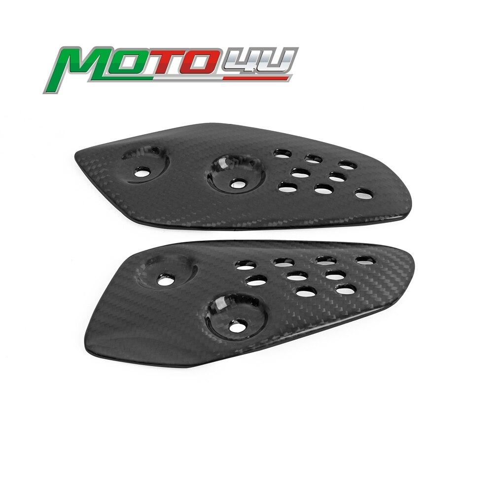 Protège-talon de moto en Fiber de carbone véritable, plaque de protection arrière, cheville de pied, superposition brillante pour Yamaha MT07 2013 – 2018
