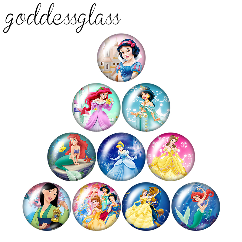 Princesses Girls Gift Kids Jewelry 10pcs Mixed 12mm/18mm/20mm/25mm Round Photo Glass Cabochon Demo Flat Back Making Findings