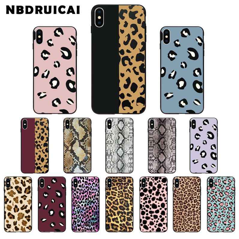 NBDRUICAI Leopard print and snake skin High Quality Silicone Phone Case for iPhone 11 pro XS MAX 8 7 6 6S Plus X 5 5S SE XR case