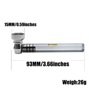 Image 5 - Курительная трубка из шершневого стекла 93 мм, курительная трубка с металлической чашей, травяные дымовые трубы