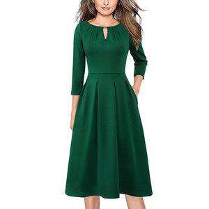 Image 2 - Vfemage Womens Autumn Elegant Pleated Keyhole Neck Pockets Work Business Office Casual Party Fit Flare Skater A Line Dress 5113