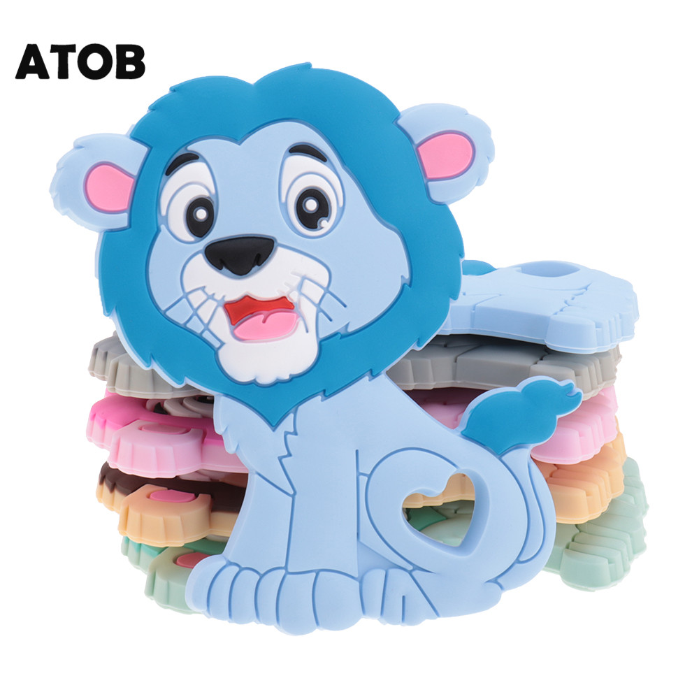 10pcs Lion Food Grade Silicone Teethers Baby Silicone Teething Necklace Pendant Pacifier Goods For Newborns Bpa Free ATOB