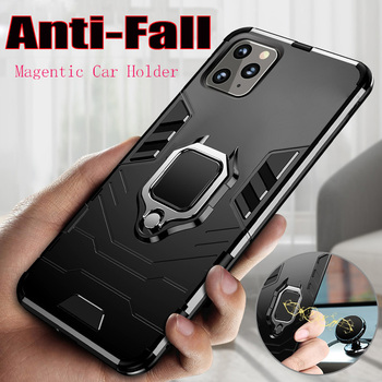 360 Armor Case For iPhone 11 Pro XS Max Case Silicone Magnetic Car Holder Cover For iPhone 7 6 S 6S 8 Plus X XR Case Coque Funda image