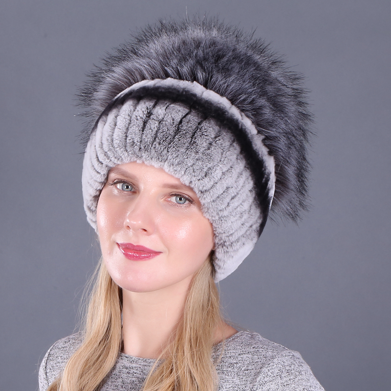 Women's Genuine Rex Rabbit Fur Hats Winter Rex Rabbit Fur Beanies Striped Head Top Flower Faux Fox Fur Warm Real Fur Knit Caps