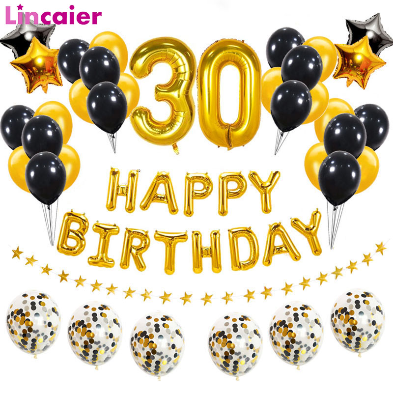 Number <font><b>30</b></font> Foil Balloons 30th Happy <font><b>Birthday</b></font> <font><b>30</b></font> Years Old Man Woman Party <font><b>Decorations</b></font> Thirty Anniversary Supplies Gold Black image