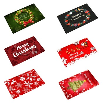 Mat In Hallway Kitchen Rubber Doormat Merry Christmas Santa Claus Home Decor Living Room Rug Anti-Slip Dustproof Carpet image