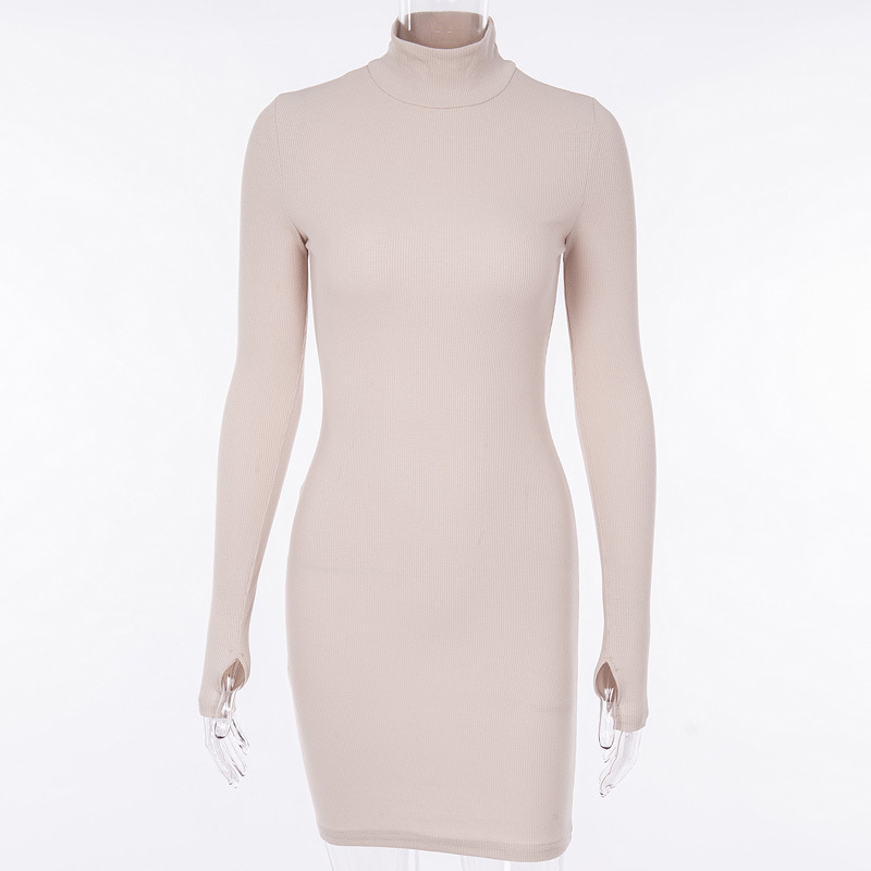 Cryptographic Ribbed turtleneck long sleeve winter dress women 19 fashion vestidos trend color slim sexy bodycon dresses 9