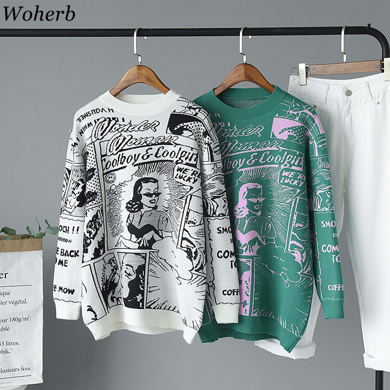 Woherb Vintage Pullover Sweater Women Cartoon Letter Print Knit Top 2020 New Modis Harajuku Jumper Sueter Mujer Loose Knitwear