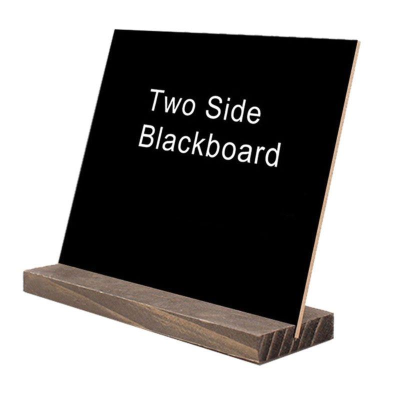 1Set Wood Tabletop Chalkboard Double Sided Blackboard Message Board Children Kids Toy X6HB
