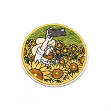 2pcs/lot Van Gogh Embroidery Patch Creative Patch for Clothes Iron on Patch Personality DIY Accessories Backpack Stickers C105(China)