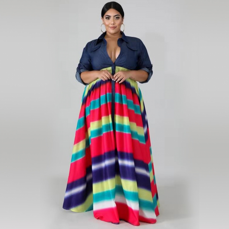 3XL 4XL Plus Size Africa Clothing African Dresses For Women Stripe Printed Long Sleeve Maxi Dress Robe Long Party African Dress
